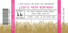 PERSONALISED BIRTHDAY PARTY INVITES Surprise Invitations CONCERT TICKETS