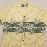 Winnie Fashion Men's Hawaiian Short Sleeve Shirt Size Large Floral Yellow Green