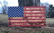 We The People Rustic Burnt Wood American Flag 36 inch by 19inch