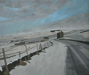 RUSSELL HOWARTH LARGE ORIGINAL OIL PAINTING NORTHERN ARTIST SNOW IN SADDLEWORTH