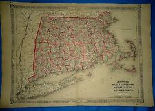 Vintage Civil War Period 1864 Map ~ MASSACHUSETTS CT RI ~ Old Authentic