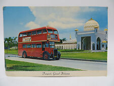 Vintage 1960's Post Card - Freeport, Grand Bahama - Double Decker Bus, El Casino