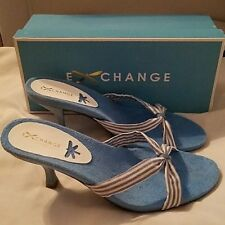 "Exchange by Charles David ""Pool"" BlueHeeled Sandals 10 NIB"