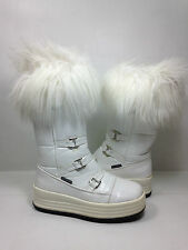 Pajar White Patten Leather  Mid calf Fur Top Boots Size Eur. 36