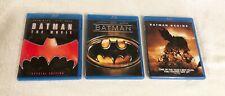 3 Piece Batman Blu Ray Lot - Batman the Movie Batman 1989 Batman Begins