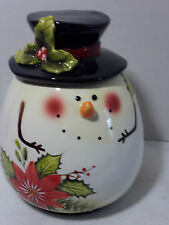 LARGE POINSETTIA CANISTER WITH LID NEW IOB