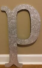 "NEW Pottery Barn Teen SILVER Camille GLITTER Wall Letter ""P"""