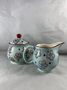 Signature Housewares Blue & Red Floral Creamer & Sugar Set Print 11-3 * (C2)
