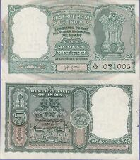 India 5 Rupees Banknote,(1957-1962),Choice Extra Fine Grade,Cat#35-A-1003