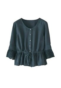 RRP £99, NEW WRAP LONDON Peplum blouse Garment-dyed linen, SZ 16