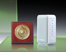 Honeywell 150m Wireless Plug-in Doorbell kit Period Brass/Mahogany Push DC313MBs
