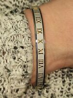 Roman Numeral Bracelet HANDMADE 24k GOLD Silver Bangle Mom and Daughter Jewelry