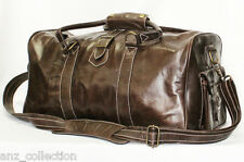 Medium Brown Real Leather Holdall Duffle Travel Sports Gym Designer Weekend Bag