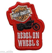 HARLEY DAVIDSON REBEL ON WHEELS YOUTH PATCH - SKULL AND CROSS BONES