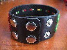 Black Faux Leather Multi Color Peace Sign Wide BRACELET