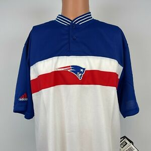 Adidas New England Patriots Polo Shirt Vtg 90s NFL On Field New Deadstock Sewn S