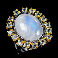Moonstone Ring Silver 925 Sterling Handmade13ct+ Size 8 /R128852