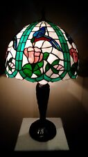"""16"""" Tiffany Style Hummingbirds Stained Glass Shade on New Dale Tiffany Base Lamp"""