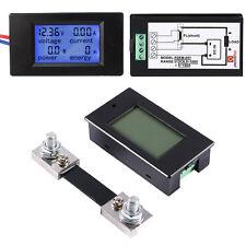 DC 12V 24V 48V 100A LCD Combo Meter Ammeter Voltmeter Watt w/ 100A/75mV Shunt SG