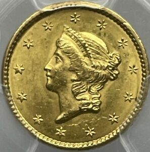 1849 $1 Gold LIBERTY OPEN WREATH Dollar MS63+ PCGS First Year Issue! Pop 2