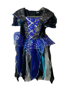 Kids Halloween Dress Costume Girls 3 Years Black Blue Spider Web Glitter Witch