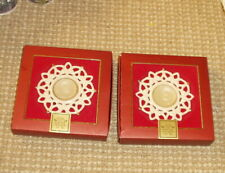 Lenox Snow Lights For The Holidays Set Tea Porcelain Candle Holders w Candles!