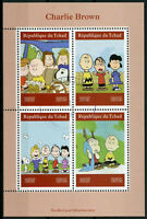 Chad 2019 CTO Charlie Brown Peanuts Snoopy 4v M/S Cartoons Comics Stamps