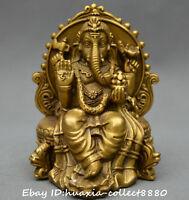 Chinese Tibet Buddhism old bronze gild wealth Elephant god Mammon Buddha Statue