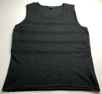Cable & Gauge Women's Sleeveless Blouse Top XL Solid Gray Scoopneck Stretch