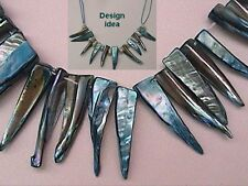 12 x MOTHER-OF-PEARL SHARK TEETH, TURQUOISE