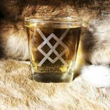 Gungnir Spear Of Odin Laser Engraved Whisky Square Glass, Etched Whisky Glass