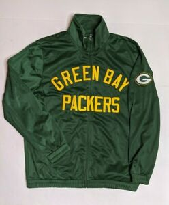NFL Green Bay Packers Mens Size XL Track Jacket Green EUC