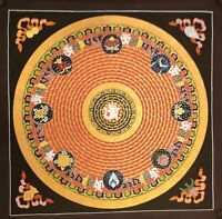 Large Genuine HandPainted Tibetan Mantra Mandala thangka Painting Meditation 11