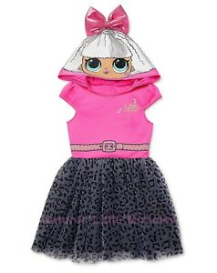 L.O.L. Surprise! Girls Halloween Costume Tutu Hoodie Dress Size 4-8 LOL Doll NWT