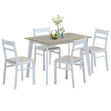5 Piece Dining Set Table & 4 Chairs Wood Kitchen Dining Room Breakfast Furniture