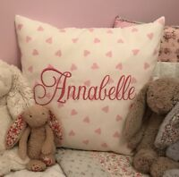 PERSONALISED Girls Embroidered Cushion Cover Clarke & Clarke Pink Hearts Gift