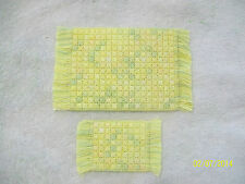 "2 Doll House Handmade Needlepoint Rugs - 3"" x 5 1/4"" & 1 3/4"" x 3"" 100% Cotton"