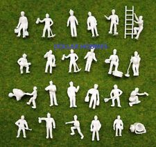 100 Pcs.1:87 UnPainted White Figures Workers HO Scale/Guage 20MM