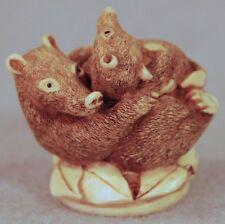 Harmony Ball Qt'S Take A Nap Qt Honey Badger Weasel Couple Cuddling Figurine-Mib