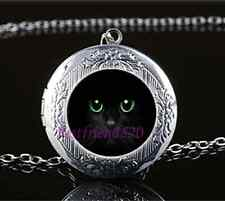 Black Cat Green Eye Photo Glass Tibet Silver Chain Locket Pendant Necklace