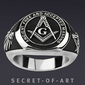 Freimaurer Ring Echt Silber 925 Masonic AF & AM Ancient Free & Accepted Masons