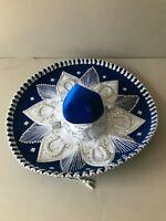 """MEXICAN MARIACHI HAT , CHARRO , SOMBRERO ,COSTUME , 22"""" ONE SIZE , BLUE - SILVER"""