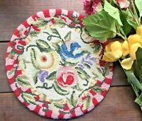 Vintage Needlepoint Stool Cover Floral Victorian -Handmade Chair Top-Beautiful!