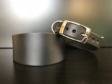 S/M RIVETED Leather Dog Collar Whippet Greyhound Lurcher Saluki  BLACK