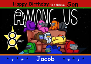 Among Us personalised A5 birthday card - ANY - AGE RELATION NAME