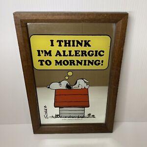 "Vintage Snoopy Pub Mirror ""I Think I'm Allergic To Mornings"" 34 x 24 cm Retro"