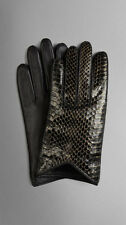 NWT BURBERRY Silk Lined Snake Skin LEATHER GLOVES $495 SIZE 7.5 BLACK GOLD AUTH