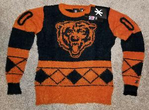 Chicago Bears Women's Small Klew Eyelash Crewneck Ugly Christmas Sweater New/NWT