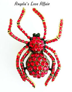 HALLOWEEN SPOOKY GOLDTONE RED CRYSTAL SPIDER ARACHNID BROOCH BADGE PIN