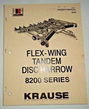 Krause 8200 Series Flex Wing Disc Harrow Owners Operators Parts Manual Original